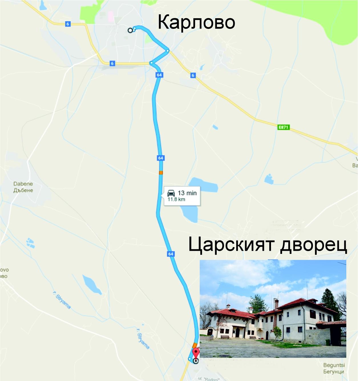 Царски дворец карта